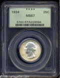 Washington Quarters: , 1934 25C Medium Motto MS67 PCGS. Cartwheel luster readilypenetrates the original sea-green, pearl-gray, and rose patina.A...