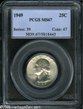 Washington Quarters: , 1949 25C MS67 PCGS. A lustrous green-gold Superb Gem, crisplystruck and with unblemished fields. Population: 27 in 67, 1 f...