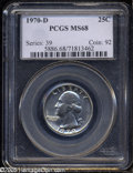 Washington Quarters: , 1970-D 25C MS68 PCGS. Sharply detailed with pristine surfaces andbeautiful, deep, lilac-gray toning on both sides of the c...
