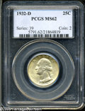 Washington Quarters: , 1932-D 25C MS62 PCGS. This key date displays well defined designelements and a layer of yellow-gold patina overlying soft ...