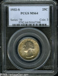 Washington Quarters: , 1932-S 25C MS64 PCGS. Well struck and satiny, with dappled,multicolored patina near the obverse and reverse borders, and c...