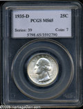 Washington Quarters: , 1935-D 25C MS65 PCGS. Boldly struck and untoned, with shimmeringluster and a pair of tiny contact marks on Washington's lo...