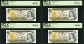 Canadian Currency, BC-46b $1 1973 Four Consecutive Examples.. ... (Total: 4 notes)