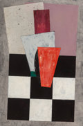 Fine Art - Painting, American, Dan Rizzie (American, b. 1951). Untitled (checkerboard).Mixed media on paper with collage. 38 x 58 inches (96.5 x 147.3...