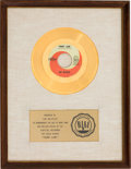 "Music Memorabilia:Awards, Beatles ""Penny Lane"" RIAA White Matte Gold Record Sales AwardPresented to the Artist (Capitol 5810, 1967)...."