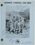 """Movie/TV Memorabilia:Autographs and Signed Items, M*A*S*H Cast Signed """"Goodbye, Farewell and Amen"""" Shooting Script (20th Century Fox / CBS, 1982)...."""