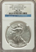 Modern Bullion Coins, Five-Piece 2011 25th Anniversary Silver American Eagle Set, Early Releases NGC. The set includes the 2011 Eagle MS70, 2011... (Total: 5 coins)