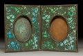 Art Glass:Tiffany , Tiffany Studios Bronze and Glass Grapevine Double PictureFrame . Circa 1900. Stamped TIFFANY STUDIOS, NEW YOR...