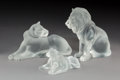 Art Glass:Lalique, Set of Lalique Glass Bamara, Simba, and Tambwe LionFigures Signed by Marie-Claude Lalique. Post-194... (Total: 3Items)