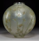 R. Lalique Frosted Glass Grande Boule Lierre Vase with Green and Sepia Patina Circa 1912. Stencil etched R