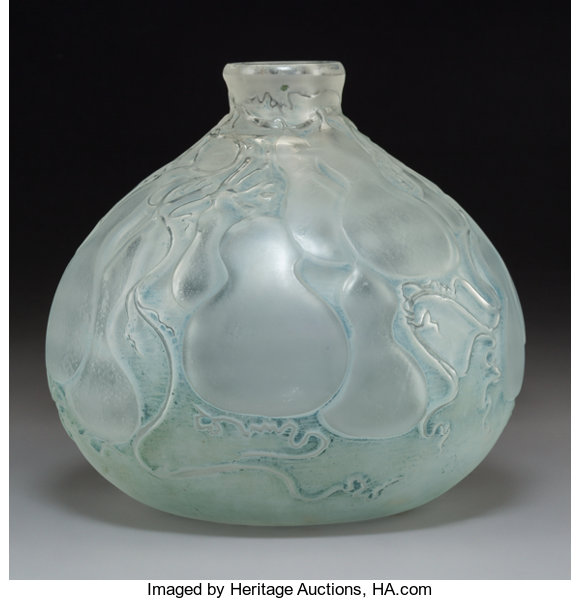 R Lalique Frosted Glass Courges Vase With Blue Patina Circa Lotid