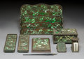 Art Glass:Tiffany , Eight-Piece Tiffany Studios Bronze and Glass Grapevine DeskSet. Circa 1900. Stamped TIFFANY STUDIOS, NEW ... (Total:8 Items)