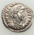 Ancients:Roman Imperial, Ancients: Theodosius I, Eastern Roman Empire (AD 379-395). ARsiliqua (19mm, 1.92 gm, 5h). NGC (photo-certificate) Choice AU 4/5- 4/5....