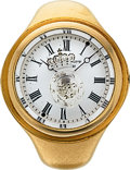 Timepieces:Other , Henry Capt Rare 22K Gold Ring Watch With Carved Intaglio Rock Crystal. ...