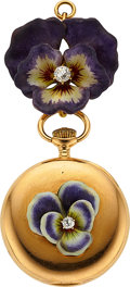 "Timepieces:Pendant , Tiffany & Co. Gold ""Pansy"" Enamel & Diamond Pendant Watch. ..."