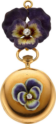 "Tiffany & Co. Gold ""Pansy"" Enamel & Diamond Pendant Watch"