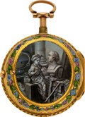 Timepieces:Pocket (pre 1900) , Les Freres Colladon Very Fine Gold Quarter Hour Repeater With Grisaille Enamel. ...