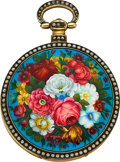 Timepieces:Pocket (pre 1900) , Bovet Fleurier Enamel & Pearl Duplex Watch Made For The Chinese Market, circa 1820. ...
