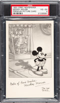 Non-Sport Cards:Singles (Pre-1950), 1931 First Newspaper Walt Disney Mickey Mouse Premium Card PSA VG-EX 4 - Pop One, None Higher. ...