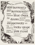 Music Memorabilia:Posters, The Doors/Iron Butterfly/Pink Floyd Double-Sided Handbill (1968)....