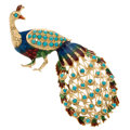 Estate Jewelry:Brooches - Pins, Turquoise, Enamel, Gold Brooch. ...