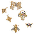 Estate Jewelry:Brooches - Pins, Diamond, Multi-Stone, Gold Brooches. ... (Total: 6 Items)