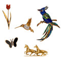 Estate Jewelry:Brooches - Pins, Diamond, Multi-Stone, Enamel, Gold Brooches. ... (Total: 5 Items)