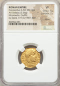 Ancients:Roman Imperial, Ancients: Constantius II, as Augustus (AD 337-361). AV solidus(19mm, 3.56 gm, 6h). NGC VF 5/5 - 2/5, clipped, graffito....