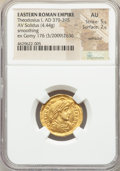 Ancients:Roman Imperial, Ancients: Theodosius I (AD 379-395). AV solidus (21mm, 4.44 gm,1h). NGC AU 5/5 - 2/5, wrinkled, smoothing....