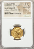 Ancients:Roman Imperial, Ancients: Constantius II, as Augustus (AD 337-361). AV solidus (20mm, 4.60 gm, 11h). NGC Choice XF 5/5 - 2/5, ex mount....
