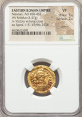 Ancients:Roman Imperial, Ancients: Marcian (AD 450-457). AV solidus (20mm, 4.47 gm, 5h). NGCVF 5/5 - 2/5, scratch....
