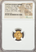 Ancients:Roman Imperial, Ancients: Arcadius (AD 383-408). AV tremissis (14mm, 1.54 gm, 12h).NGC Choice AU 5/5 - 3/5, edge marks....