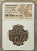 Ancients:Byzantine, Ancients: Anonymous. Class D. Time of Constantine IX (ca. AD1042-1060). AE follis (29mm, 7.63 gm, 6h). NGC VG 5/5 - 4/5....