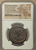 Ancients:Byzantine, Ancients: Justin I and Justinian I (AD 527). AE follis or 40 nummi(32mm, 16.47 gm, 6h). NGC Fine 4/5 - 4/5....