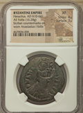 Ancients:Byzantine, Ancients: Heraclius (AD 610-641). AE follis or 40 nummi (34mm,16.28 gm, 6h). NGC XF 4/5 - 3/5, countermarks....