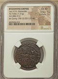 Ancients:Byzantine, Ancients: Leo VI the Wise (AD 886-912), with Alexander. AE follis(28mm, 7.31 gm, 5h). NGC Choice XF 5/5 - 3/5....