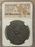 Ancients:Byzantine, Ancients: Justinian I the Great (AD 527-565). AE follis or 40 nummi(40mm, 22.81 gm, 7h). NGC Choice XF 4/5 - 3/5....