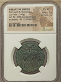 Ancients:Byzantine, Ancients: Michael II the Amorian (AD 821-829), with Theophilus. AEfollis or 40 nummi (30mm, 7.46 gm, 6h).NGC Choice XF 5/5 -3/5....