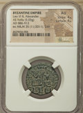 Ancients:Byzantine, Ancients: Leo VI the Wise (AD 886-912), with Alexander. AE follis(25mm, 5.03 gm, 7h).NGC AU 4/5 - 4/5....