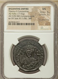 Ancients:Byzantine, Ancients: Tiberius II Constantine (AD 578-582). AE follis or 40 nummi (35mm, 17.92 gm, 6h).NGC MS 4/5 - 3/5, lt. smoothing....