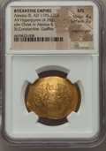 Ancients:Byzantine, Ancients: Alexius III Angelus-Comnenus (AD 1195-1203). AVhyperpyron (29mm, 4.39 gm, 6h). NGC MS 4/5 - 2/5, edgecrimped, graffito....