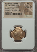 Ancients:Byzantine, Ancients: John V Palaeologus (AD 1341-1391), with Anna of Savoy, asregent. AE hyperpyron (23mm, 3.22 gm, 6h). NGC XF 2/5 - 3/5,clipped...