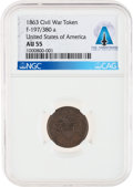 """Explorers:Space Exploration, 1863 U.S. Civil War Token """"Not One Cent"""" AU55 NGC, F-197/380a Directly From The Armstrong Family Collection™, Certifie..."""