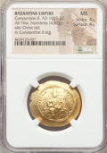 Ancients:Byzantine, Ancients: Constantine X Ducas (AD 1059-1067). AV histamenon nomisma(28mm, 4.37 gm, 6h). NGC MS 4/5 - 4/5....