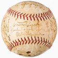 Autographs:Baseballs, 1954 Chicago Cubs Team Signed Baseball (25) With Ernie Banks Rookie Autograph. ...