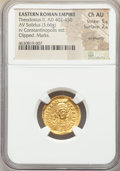 Ancients:Roman Imperial, Ancients: Theodosius II (AD 402-450). AV solidus (20mm, 3.66 gm,5h). NGC Choice AU 5/5 - 2/5, ex jewelry....