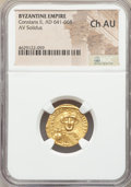 Ancients:Byzantine, Ancients: Constans II Pogonatus (AD 641-668). AV solidus (20mm,7h). NGC Choice AU....