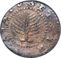 1652 SHILNG Pine Tree Shilling, Large Planchet, No H -- Scratched -- NCS. XF Details. Noe-11, W-760, Salmon 9-F, R.4...