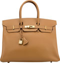 """Luxury Accessories:Bags, Hermès 35cm Natural Epsom Leather Birkin Bag with Gold Hardware. E Square, 2001. Condition: 2 . 14"""" Width x 10"""" He..."""