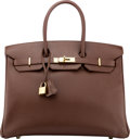 "Luxury Accessories:Bags, Hermès 35cm Chocolate Epsom Leather Birkin Bag with Gold Hardware. O Square, 2011. Condition: 2 . 14"" Width x 10"" ..."